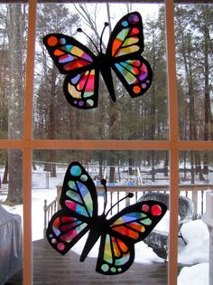 """Stained glass"" tissue paper butterflies: Things to do with kids when you're…"