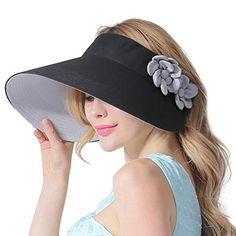 927a7d1540f CACUSS Women s Summer Cotton Sun Hat Wide Brim Visor Adju... Caps Hats