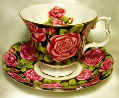 Royal Albert Rose on Black Teacup and Saucer Set ~ England
