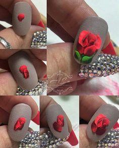 3d Nail Designs, Natural Nail Designs, Acrylic Nail Designs, Beautiful Nail Designs, Rose Nail Art, Rose Nails, 3d Nail Art, 3d Acrylic Nails, 3d Nails