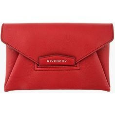 GIVENCHY Red Leather Small Antigona Envelope Clutch found on Polyvore