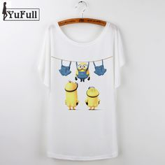 New 2016 casual t shirt women cartoon minions print o-neck short sleeve  harajuku t-shirt camisetas mujer Loose tee shirt femme edaeb5ac8