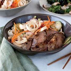 Hoisin-Grilled Flank Steak with Noodle Salad | MyRecipes.com #myplate ...
