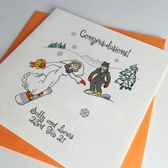 Orange and Yellow snowboard wedding card. For weddings on mountains with snowflakes and kisses. Wedding, Engagement and Anniversary cards, invitations and other wedding stationery too Snowboard Wedding, Ski Wedding, Destination Wedding, Wedding Engagement, Snowboard Design, Ski And Snowboard, Ski Card, Wedding Stationery, Wedding Invitations