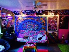 Hippie style home decor  3 via   Hippies Hope Shop www hippeshope comFlower Decor Tapestry By Ambesonne  Flowers Draw Rainbow Colored  . Hippie Bedroom Decorating Ideas. Home Design Ideas