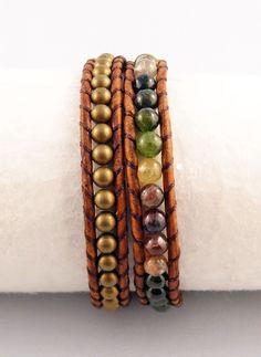 Watermelon Tourmaline and Brass Brown Leather Wrap Bracelet #watermelon #tourmaline