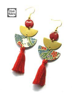 Fabric Earrings, Paper Earrings, Wooden Earrings, Paper Jewelry, Textile Jewelry, Fabric Jewelry, Diy Earrings, Polymer Clay Earrings, Earrings Handmade