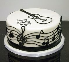 images of guitar cakes | black white guitar cake