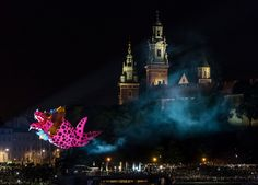 Dragons parade - Dragons parade on Vistula river. Krakow, Poland