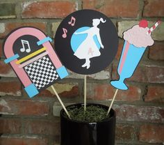 Sock Hop Birthday Party Centerpiece Sticks 1950s Theme | Etsy Grease Themed Parties, 50s Theme Parties, Grease Party, Music Themed Parties, Music Party, 1950s Theme Party, Themes For Parties, 1950s Party Decorations, Sock Hop Decorations