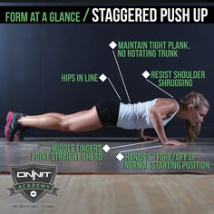 Push Ups, one of the most common calisthenic exercises ever developed, provide a perfect platform for a variety of variations that can hit your body in several different of ways; one of those variations is the Staggered …