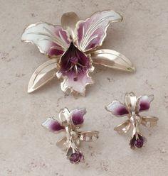 Orchid Brooch Earring Set Enamel Pruple Rhinestones Vintage 081916AL by cutterstone on Etsy #perpetualorchid #broochearringset #enamel #orchidjewelry #vintage