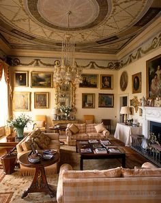 The ceiling of the Music Room was designed by Gabrielli and the room has since been restored completely and turned into a comfortable sitting room in Ireland home