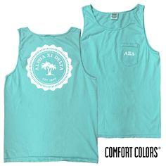Alpha Xi Delta Lagoon Blue Comfort Colors Pocket Tank