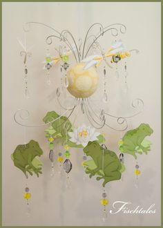 Bee and Frog Baby Mobile Nursery Mobile by fischtaledesigns