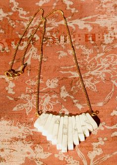 White howlite fan necklace by bluebegonia on Etsy