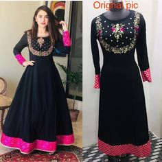 *price* : 1011 *Size*: m - *Color*: Navy Blue *Fabric*: Rayon *Style*: Embroidered *Delivery* : Within business days Two Piece Quinceanera Dresses, Red Wedding Dresses, Formal Dresses, Long Anarkali Gown, Anarkali Kurti, Indian Dresses Traditional, Bollywood Fashion, Indian Bollywood, Designer Gowns