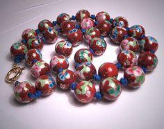 Estate Vintage Cloisonne Enamel Necklace Chinese Bead via Etsy
