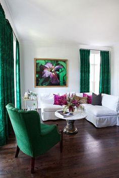 White and emerald living room with art. Space. Decor. Home. Interior Design. Elegant.