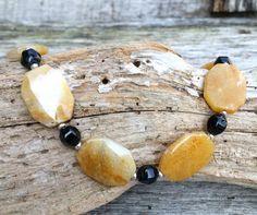 Gemstone Necklace, Honey Jade, Stone Bead Jewelry
