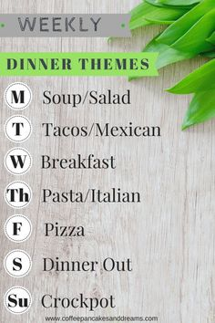 Weekly Dinner Themes - Coffee, Pancakes & Dreams - Simple dinner themes that make meal planning easy! -Establishing Weekly Dinner Themes - Coffee, Pancakes & Dreams - Simple dinner themes that make meal planning easy! Monthly Meal Planning, Family Meal Planning, Budget Meal Planning, Meal Planner, Family Meals, Healthy Meal Planning, Weekly Meal Plan Family, Easy Meal Plans, Keto Meal Plan