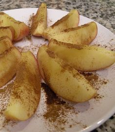 Core an apple, put in a bowl with 1/4 cup water and microwave covered for 2 minutes, then remove from water and add a pinch of cinnamon. No sugar needed.