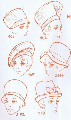 1960's hats fashion sketch