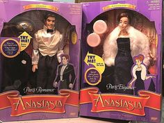 Beautiful Anastasia and Dimitri dolls from the Paris scenes with beautiful outfits. This is a great addition for any doll collector. Paris Romance, Collector Dolls, Anastasia, Beautiful Outfits, Fandoms, Toys, Activity Toys, Games, Fandom