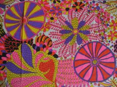 Vintage 60s Hot Pink Psychedelic Sheer Gauze Fabric Bright Mod Daisy Floral Peter Max Graphic Print Home Decor BTY CBF. $28.00, via Etsy.