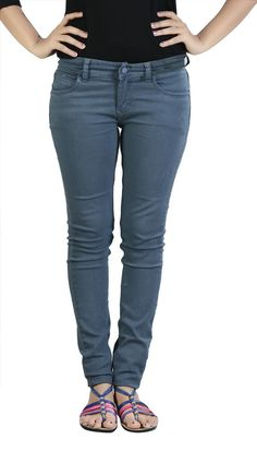 Ladies/ Women/ Girls Stretchable Gray Colour Slimfit Basic Jeans 28  to 34
