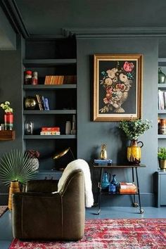 Dark living room walls with vintage-inspired, bohemian decor.