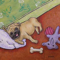 Pug taking a nap picture dog art tile coaster