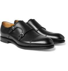 Gucci double monk-strap leather shoes.