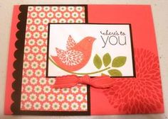 handmade card ... red and white with black mats ... like the layout ... Stampin' Up!