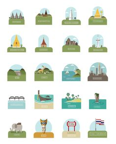 Iconic landmarks of Thailand, by Thai graphic designer Chinapat Yeukprasert