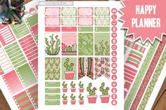 Cactus Planner Stickers Printable, Cactus Colorful HAPPY PLANNER,  Weekly Kit,Printable Sampler, Happy planner kit,Instant download By PrintThemAllStudio