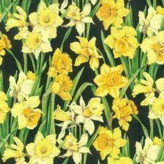 Bright-printemps-jonquilles-grandes-fleurs-100-patchwork-tissu-de-coton-NUTEX
