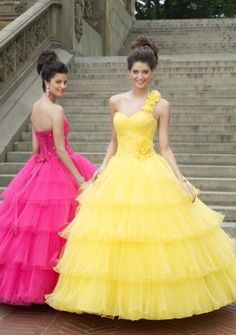 Ball Gown One Shoulder Floor-length Tulle Prom Dress