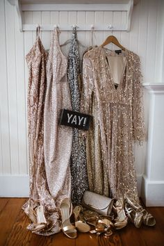 These bridesmaids wore mis-matched sparkly dresses at this Hawaii wedding Stunning Wedding Dresses, Princess Wedding Dresses, Wedding Dress Styles, Wedding Gowns, Elegant Wedding, Wedding Shoes, Neon Prom Dresses, Sparkly Dresses, Bronze Bridesmaid Dresses