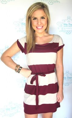 Marsala red striped dress. Would be perfect paired with a gold and teal statement necklace and gold bangles.