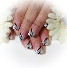Elegant French Nail Art in silver, black and white ♡