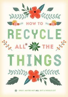 DIY:  This is a guide that gives you all the info you ever needed to know about what can be recycled &  stores that accept used products.