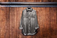 White Mountaineering for Lane Crawford Black Dyed Denim Shirt.