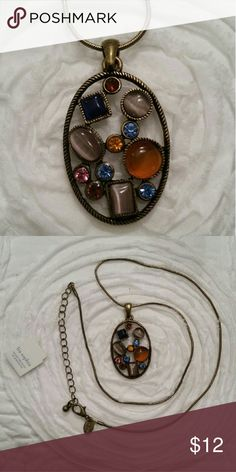 """Multicolor Lia Sophia pendant necklace Antique gold finish, 17"""" rope chain adjustable necklace with lavender/purple, light and dark blue, pink and yellow stones. New, never worn. Lia Sophia Jewelry Necklaces"""