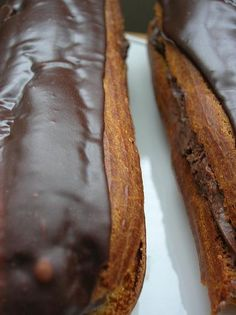Chocolate Eclairs. Oh boy...I love eclairs. To have a recipe for chocolate ones...brilliant :)