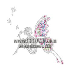 Lovely Butterfly Fairy Iron-on Rhinestone Transfer