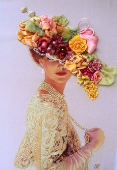 "Quadro ""Dama"", realizzato in tecnica Silk ribbon embroidery.. €100.00, via Etsy."