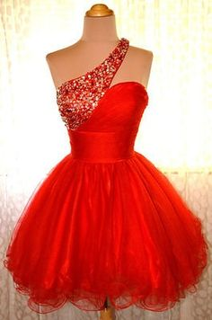 One Shoulder Homecoming Dress,Red Homecoming Dresses,Sweet 16 Dress, Homecoming Gowns