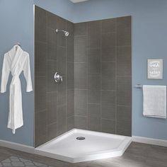Hazelwood Home Jetcoat™ x x Two Panel Neo-Angle Shower Wall Finish: Quarry Shower Wall Kits, Shower Wall Panels, Shower Walls, Shower Wall Board, Shower Ideas, Slate Shower, Modern Shower, Dreamline Shower, Neo Angle Shower