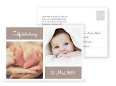 ©littlecards Postkarte Taufeinladung Fotofront in Taupe 3D Ansicht
